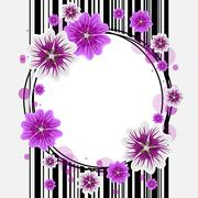 Round frame with flowers Stock Illustration