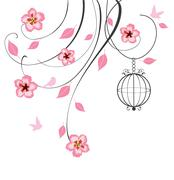 Cherry blossom swirls Stock Illustration