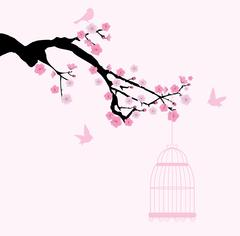 Cherry Blossom Tree Branch Stock Illustration