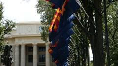 Arizona flags at the courthouse - Prescott, AZ Stock Footage