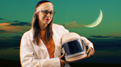 Spacewoman space astronaut helmet scifi science fiction Stock Footage