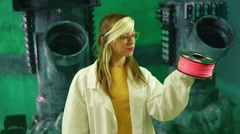 Woman scientist holding PLA 3d printing material Stock Footage