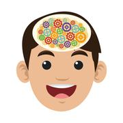 open human head with signs inside icon - stock illustration