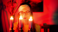 WOMAN WITH CANDLES ALTERNATIVE - stock footage