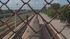 Lattice, rail ways and the old train station Stock Footage
