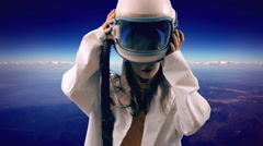 Woman with space helmet alternative 2 Stock Footage