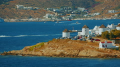 Traditional Windmills in Mykonos Stock Footage