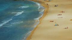 Beachgoers in the Greek Island of Mykonos Stock Footage