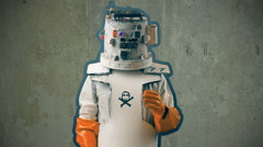 Cheesy scifi robot from the future Stock Footage