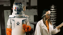 concerned scientist woman looking at a robot 222 - stock footage