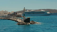 Rotation Around the Old Port of Mykonos in Greece Stock Footage