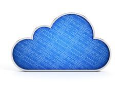 Cloud shape with blue circuit texture. 3D illustration Stock Illustration