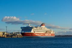 Viking Line ferry docks in the harbor Stock Photos