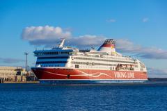 Viking Line ferry docks in the harbor Stock Photos