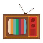 Retro classic tv with antenna and colored stripes on screen icon Stock Illustration