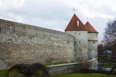 Medieval wall and tower in old Tallinn city Stock Photos