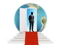 Businessman standing on the red carpet leading to the open door. 3D illustrat Stock Illustration