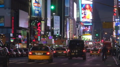 Amazing nightlife in Times Square in New York City tourist people enjoy life - stock footage