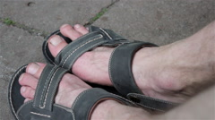 Bare feet sandals Stock Footage