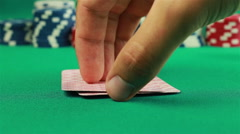 Poker Chips and Six, Deuce on green background Stock Footage
