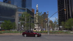 Timelapse traffic car in Columbus Circle New York City tourism attraction people Stock Footage