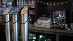 Draft Beer Equipment In Bar Pub Stock Footage