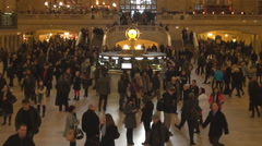 Tourist people wait train in Main Concourse indoor hall New York City landmark Stock Footage