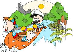 Canoe with two children and a captain - colour drawing Stock Illustration