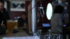 Pints Of Beer In A Traditional Bar Stock Footage