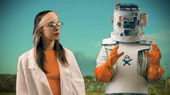 Robot and woman scientist day wrench Stock Footage