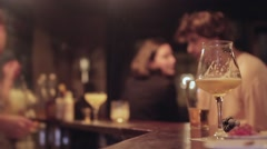Friends With Drinks At Bar Counter Stock Footage