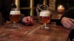 Friends Sharing Craft Beer At Restaurant, Belgian Beer Stock Footage
