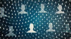 connected avatars of men and women, illustration of network for communication - stock illustration
