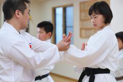 Japanese kids karate class Stock Photos