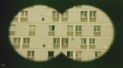 Spying On Neighbors Vintage Binoculars Pov - stock footage