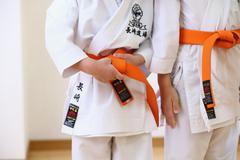 Japanese kids karate class - stock photo
