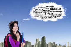 Asian schoolgirl think dream jobs Stock Photos