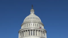 Famous Capitol Dome in Washington DC National congress building city landmark US Stock Footage
