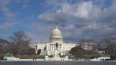 National Congress pool in Washington DC tourism attraction Capitol building icon Stock Footage