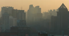 Polluted city skyline, Beijing, China Stock Footage