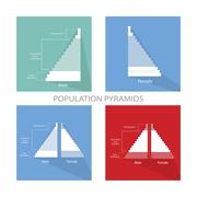 Detail of Population Pyramids Graphs Depend on Age - stock illustration