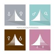 Detail of Population Pyramids Graphs Depend on Gender Stock Illustration