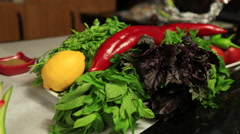 Vegetables on the table Stock Footage