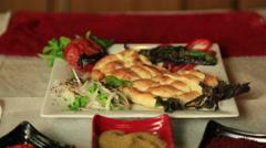 Turkish adana kebab is being prepeared to serve Stock Footage