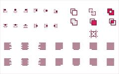 Set of align shapes, text and objects vector icons for web site mobile app Stock Illustration