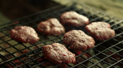 Meatballs on the grill Stock Footage