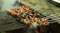 Chicken Meat Pieces Being Fried On A Charcoal Grill . Shish Kebab - stock footage