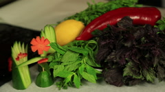 Vegetables in the kitchen Stock Footage