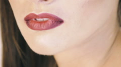 Close up of woman lips. Slowly Stock Footage
