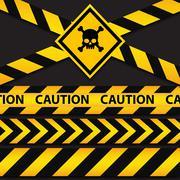 Police line and danger tapes on dark background Stock Illustration